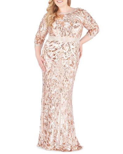 Plus Size Bateau-Neck 3/4-Sleeve Sequin Column Gown