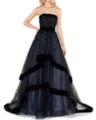 Mac Duggal Strapless Tiered Gown with Velvet Trim