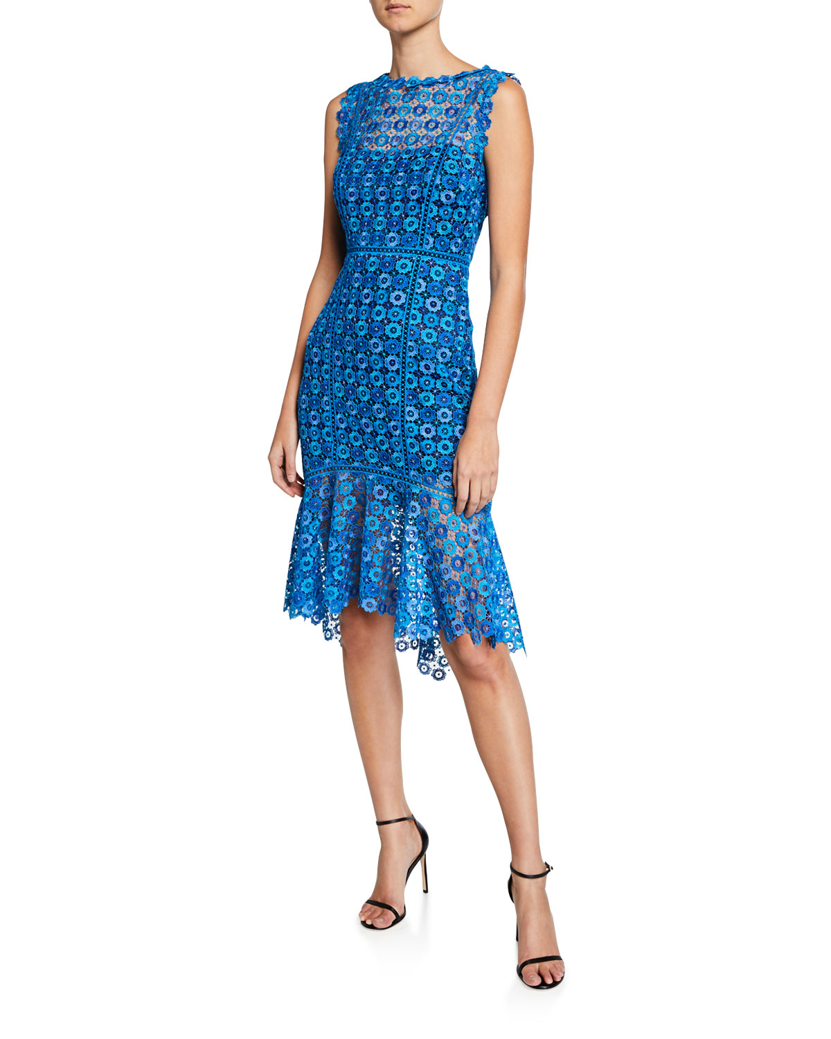 Elie Tahari Dresses BREANNA HIGH-NECK SLEEVELESS FLORAL LACE DRESS