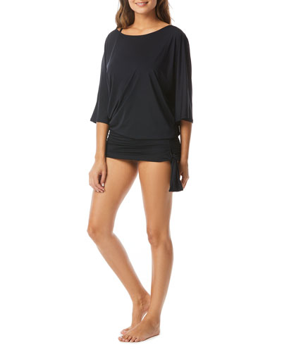 Side-Tie 3/4-Sleeve Coverup Tunic