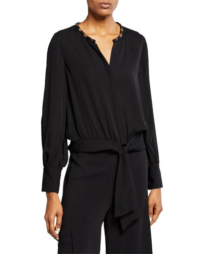 Holly Embellished Collar Long-Sleeve Silk Blouse w/ Tie-Front Hem