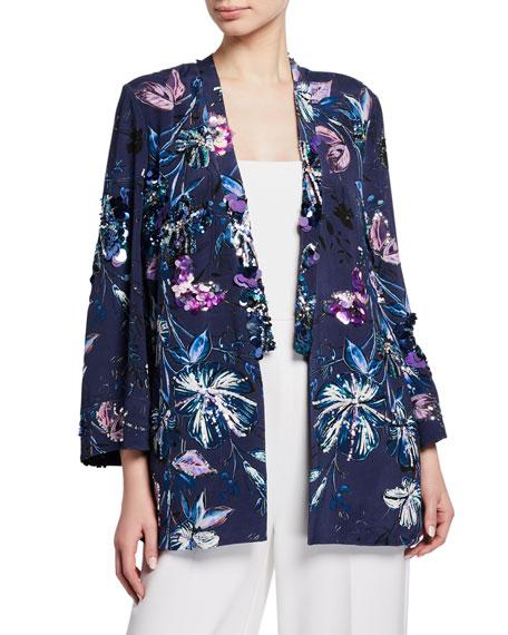 Kobi Halperin Austen Embellished Floral-Print Open-Front Jacket