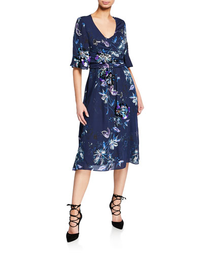 Maria Printed Short-Sleeve Midi Wrap Dress with Paillettes