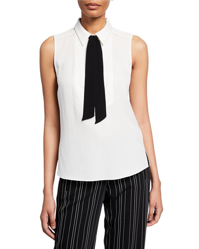 Adrianna Sleeveless Blouse with Neck-Tie