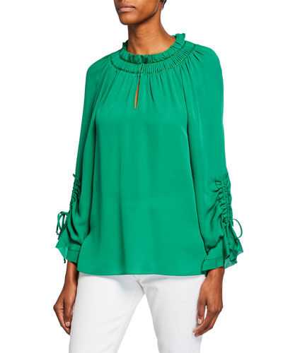 Ramone Long-Sleeve Silk Blouse