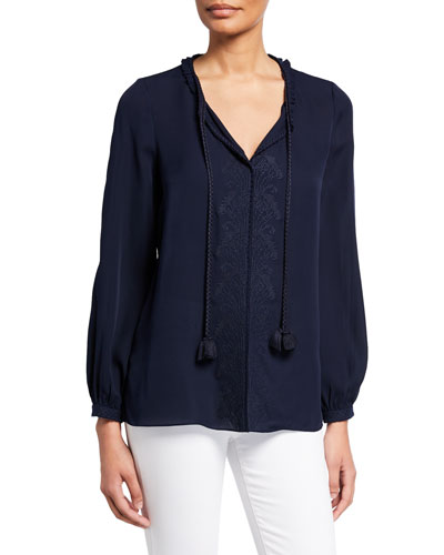 Amelia V-Neck Tassel-Tie Long-Sleeve Silk Blouse