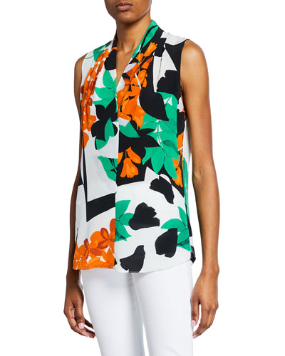 Mila Abstract Sleeveless Silk Blouse