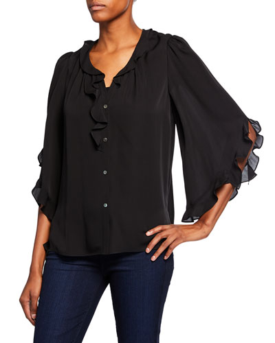 Jael Button-Front 3/4-Sleeve Ruffle Blouse