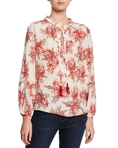 Aneesa Printed Long-Sleeve Silk Blouse