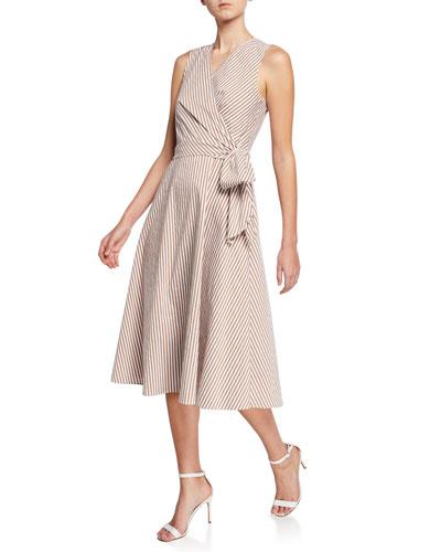 Dina Striped Sleeveless Midi Dress