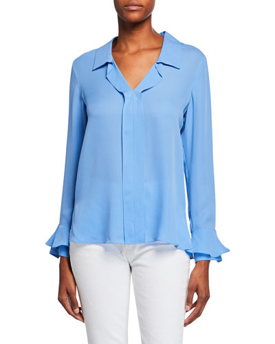 35845eab7f2c8 Blue Silk Blouse