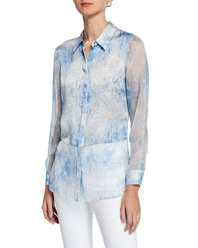 Nailah Tie-Dye Button-Down Long-Sleeve Silk Blouse