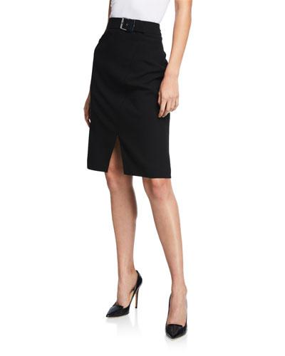 Gracelyn Belted Crepe Pencil Skirt with Front Slit