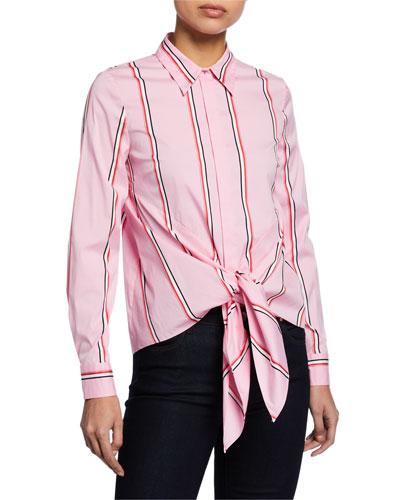 Katarina Striped Button-Down Tie-Hem Shirt
