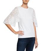 Elie Tahari Ida Crewneck Floral-Embroidered Short-Sleeve Knit Top