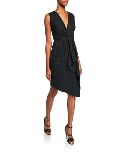 Adrianne V-Neck Sleeveless Asymmetric Grid Dress w/ Flounce Detail