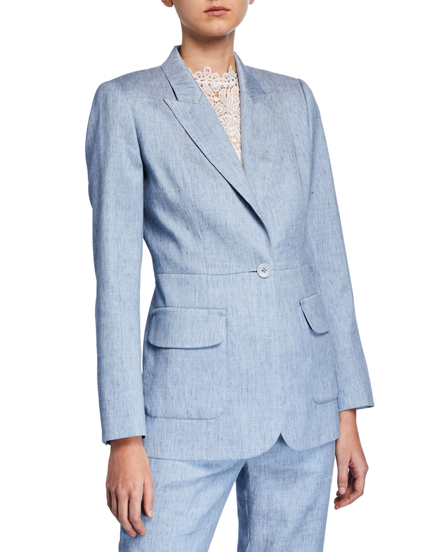 Elie Tahari Camy Linen-Blend Blazer In Light Blue