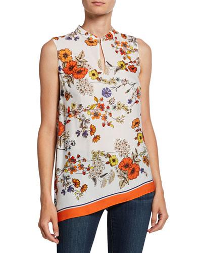 Layla Floral Sleeveless Asymmetric Blouse w/ Mandarin-Collar
