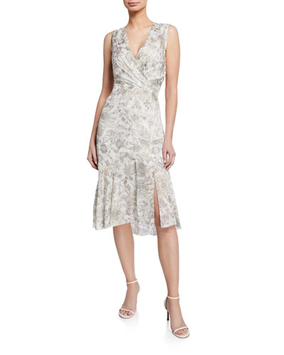Brittney Floral-Print V-Neck Sleeveless Cocktail Dress