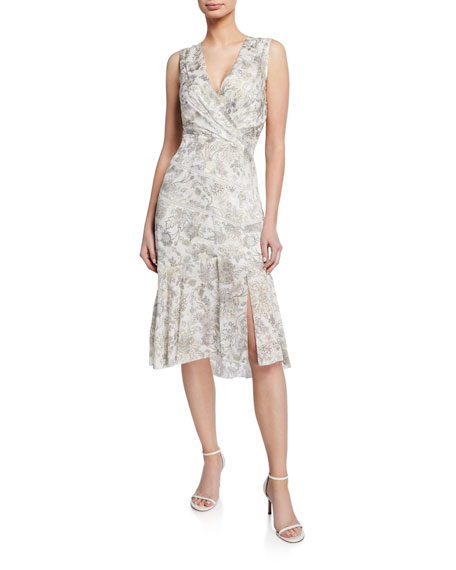 Elie Tahari Brittney Floral-Print V-Neck Sleeveless Cocktail Dress