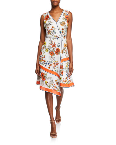 Jannele Floral-Print V-Neck Sleeveless Fit-and-Flare Dress