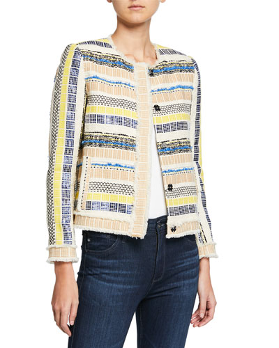 Ceanna Button-Front Checkered Tweed Jacket