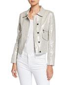 Elie Tahari Jaquelyn Metallic-Linen Zip-Front Crop Jacket