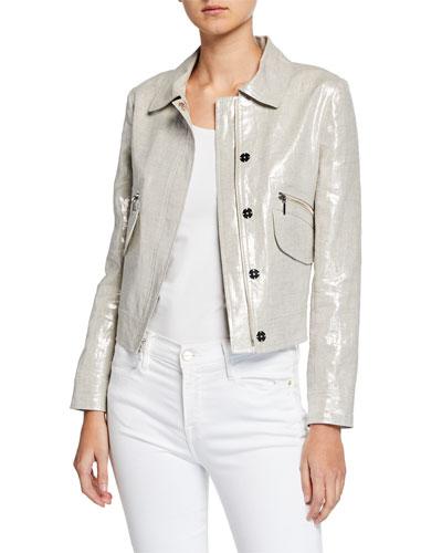 Jaquelyn Metallic-Linen Zip-Front Crop Jacket