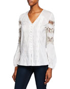 Elie Tahari Leigha V-Neck Long-Sleeve High-Low Blouse with