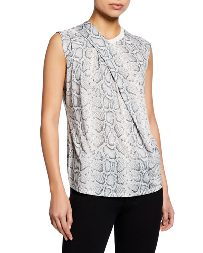 c47d03ad5003f5 Quick Look. Elie Tahari · Kourtney Knit Snake-Print Crewneck Sleeveless Top