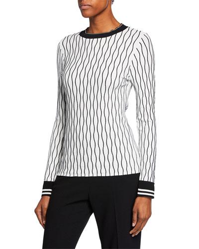 Emile Wave-Stripe Long-Sleeve Sweater w/ Contrast Trim