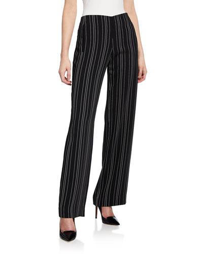 Odette Striped Straight-Leg Pants