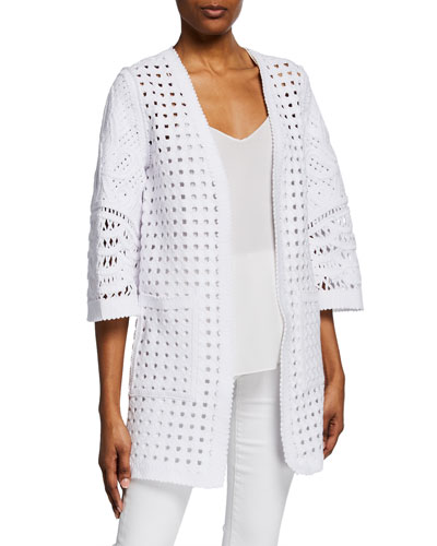 Jillian Open-Front 3/4-Sleeve Sheer Coat