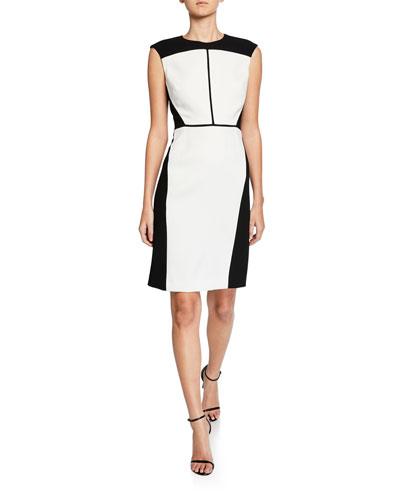 Lottie Colorblock Sleeveless Crepe Dress