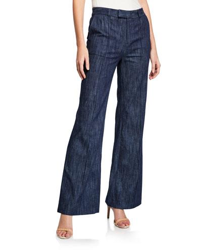 Sylvana Pintuck Flare-Leg Pants