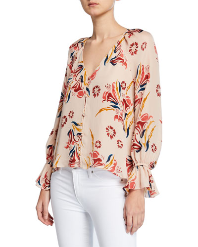 Boyana Floral-Print V-Neck Long-Sleeve Silk Top