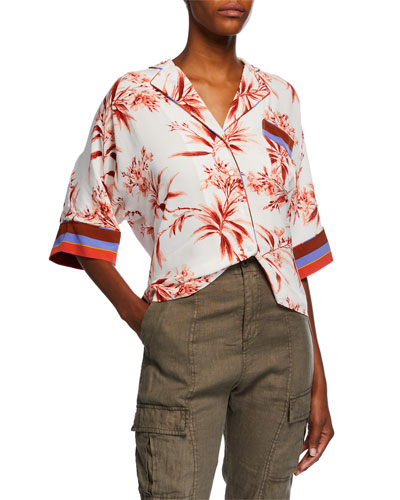Bayley Floral-Print Button-Down Top