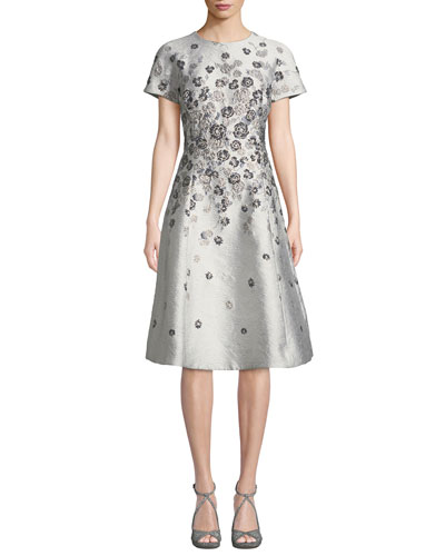 1090bcc7 Quick Look. Rickie Freeman for Teri Jon · Short-Sleeve 3D Floral-Embroidered  Jacquard A-Line Dress