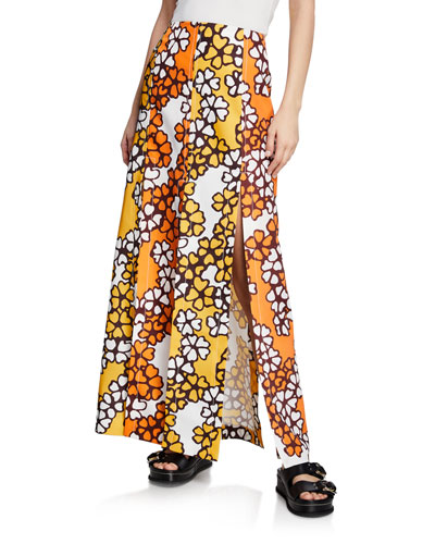 Printed Multi-Slit Maxi Skirt