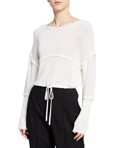 Cropped Raw-Edge Pullover Sweater