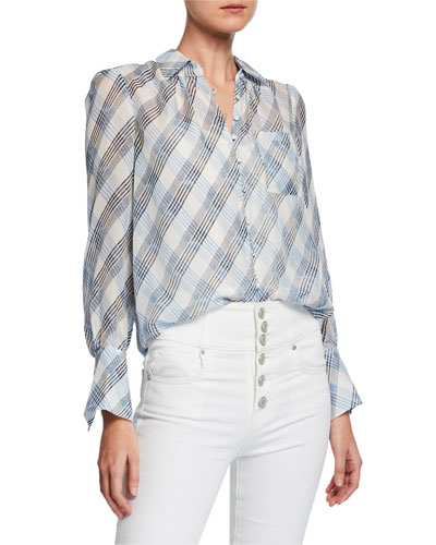 2844c66f3fdf Quick Look. Joie · Malcah Check Button-Front Silk Top. Available in  Porcelain