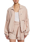 3.1 Phillip Lim Zip-Front Anorak Jacket with Cinched