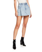 alexanderwang.t Pleated Denim Mini Skirt