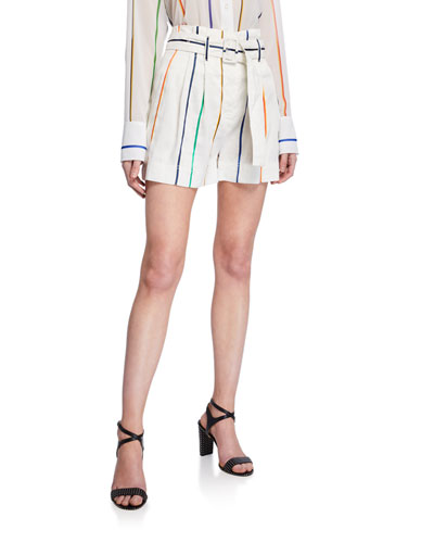 Belted High-Rise Striped Shorts