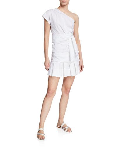 One-Shoulder Gathered Cotton Short Dress