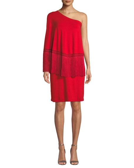 Trina Turk Eastside 1-Shoulder Popover Fringe Dress