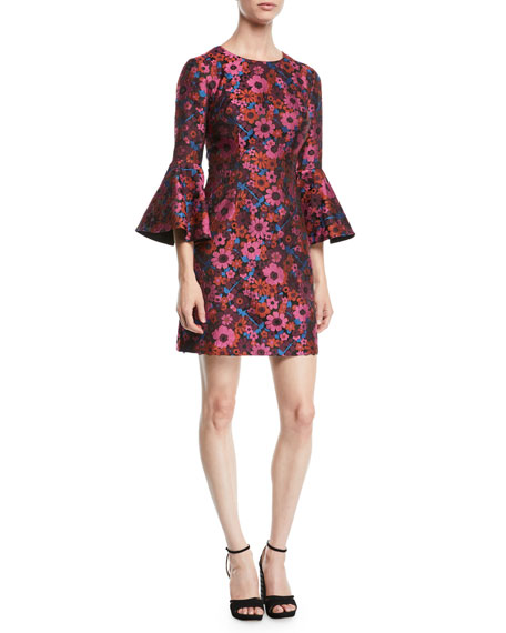 Trina Turk Bell-Sleeve Floral Mini Dress