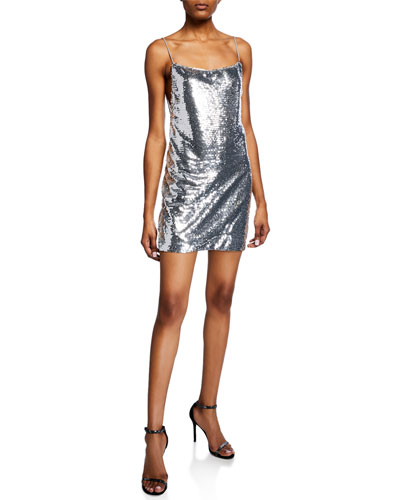 Sequin Plunge-Back Sleeveless Mini Dress