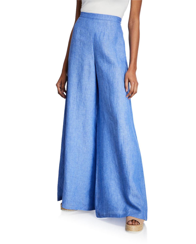 Miguelina Pants Pamela High-Rise Wide-Leg Linen Pants