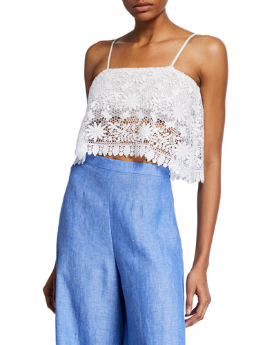 Cada Floral Cotton Lace Crop Top